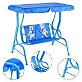 COSTWAY Kids Swing Outdoor Patio Swing Bench with Canopy 2 Seats Sturdy and Comfortable 2 Puppy Pattern on the Bench
