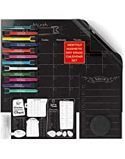 "ARTEZA Monthly Dry Erase Magnetic Calendar Set (17x13"" Black Calendar, 9x6"" to-Do List, 9x6"" Kitchen Conversion Chart, 12 Colourful Fine Tip Markers, 30 Mini Activity Magnets, Sponge, Spray Bottle)"