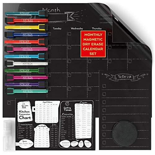 ARTEZA Monthly Dry Erase Magnetic Chalkboard Calendar Set (17x13