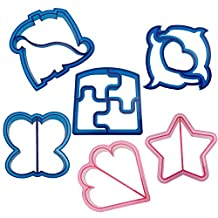 Romani Tech 6pcs/lot Sandwich Crust Cutters Cake Bread Biscuit Food Cutter Mold, Set of 6 Fun Shapes - Dinosaur, Dolphin, Heart, Puzzle, Star and Butterfly Bytes, Blue and Pink