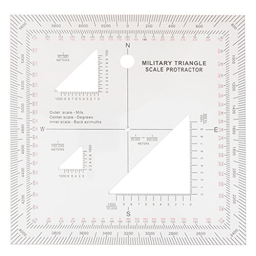 "Jili Online 5""x5"" Acrylic Triangle Coordinate Scale and Protractor for Map Reading Land Navigation"