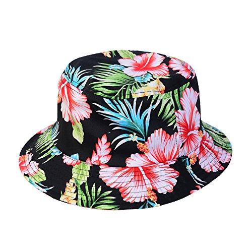1611MAIN The Hawaiian Floral Cotton Bucket Hat (Black - Medium)
