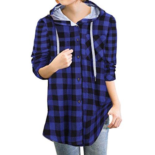 E.JAN1ST Women's Hoodie Jacket Flannel Plaid Loose Fit Oversized Boyfriend Shirt, Blue, TagsizeXXXL=USsizeXXL