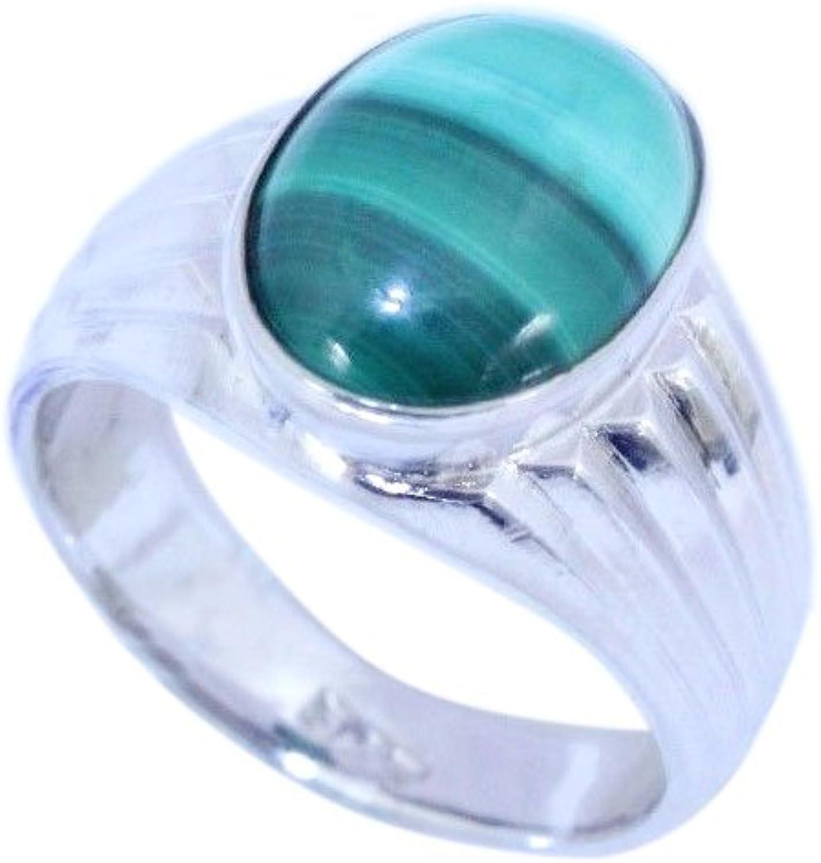 Rajasthan gems - Anillo hecho a mano para hombre, plata de ley 925, piedra de malaquita verde semipreciosa