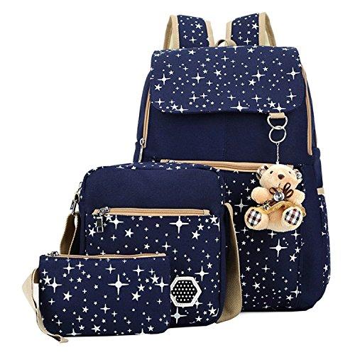 WISWIS Girls' Canvas Backpack Set 3 Pieces Patterned Bookbag Laptop School Backpack ()