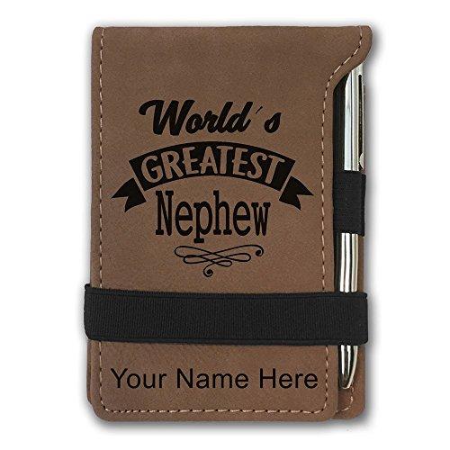 Mini Notepad, World's Greatest Nephew, Personalized Engraving Included (Dark Brown) by SkunkWerkz