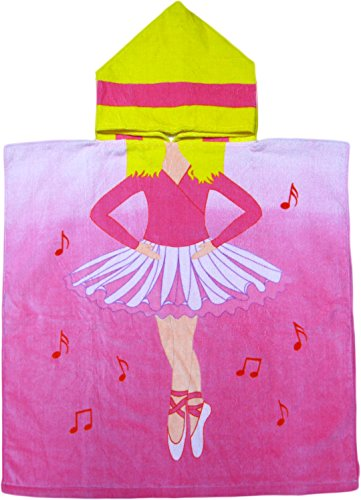 Kreative Kids Ballerina 100% Cotton Poncho Style Hooded Bath & Beach Towel with Colorful Double Sized Design