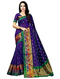 Mirraw Traditional Designer Royal Blue Poly Cotton Wedding Wear Saree with Unstitched Blouse