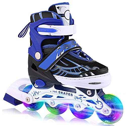 (ANCHEER Inline Skates Adjustable with Light Up Wheels Beginner Roller Fun Flashing Illuminating Roller Skates for Kids Boys and Girls and 3)