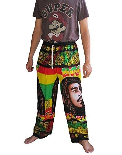 'Welcome2Bangkok' LOVELY BOB MARLEY 100% Rayon One Size Women's BOB MARLEY Print Exercise Yoga Harem Trousers (pen)