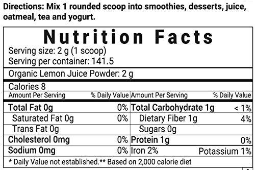 Micro Ingredients Organic Lemon Juice Powder, 10 Ounce, Rich in Natural Vitamin C (Immune Vitamins) for Immune System Booster, Lemon Juice Organic, Great Flavor for Drinks, Smoothie & Beverages, Vegan