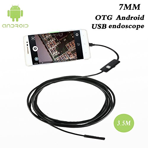 7mm USB Endoscope Borescope Inspection Snake Camera OTG Micro USB Endoscope with 6 Adjustable LEDs Waterproof Inspection Camera for Android (3.5M Cable))