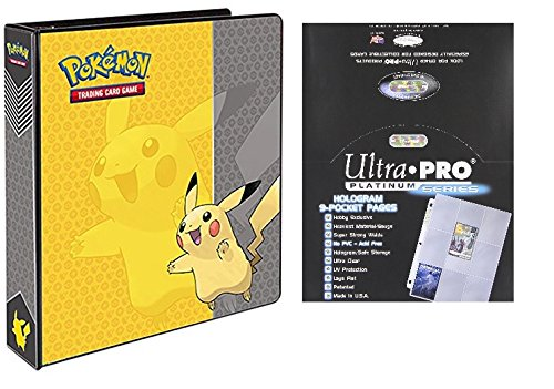Ultra Pro Pokemon Pikachu 2'' 3-Ring Binder Card Album with 100 Platinum Series 9-Pocket Sheets