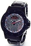 Mens King Master Super Techno Genuine Real Diamond Watch Black Case Metal Band #KM-686