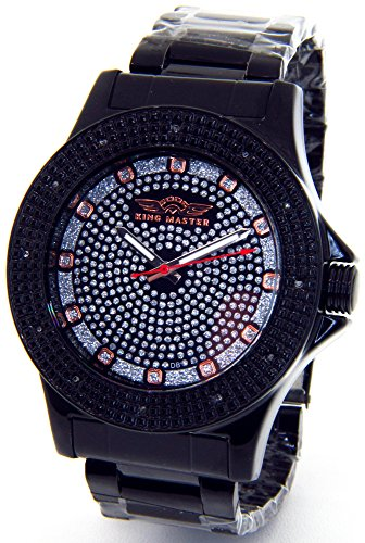 Mens King Master Super Techno Genuine Real Diamond Watch Black Case Metal Band #KM-686