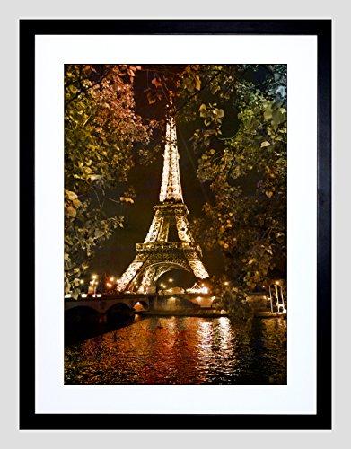 PHOTO EIFFEL TOWER SEINE PARIS NIGHT FRAMED ART PRINT POSTER F97X12215 ()