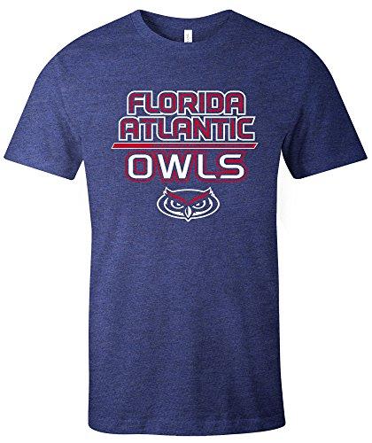 NCAA Florida Atlantic Owls Adult NCAA Reverse Short sleeve Triblend T-Shirt,Medium,Navy