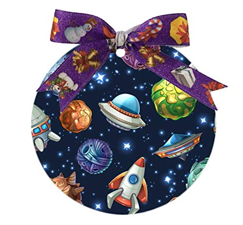 Udoosun Custom Unique Personalized Oval Porcelain Ornament Wedding Christmas Home Decoration Gift (Comic Space Planets Spaceships)