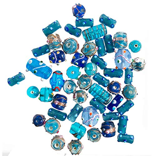 (Glass Beads for Jewelry Making for Adults 120-140 Pieces Premium Quality Lampwork Murano Loose Beads for DIY and Fashion Designs – Wholesale Jewelry Craft Supplies (Blue Combo - 10)