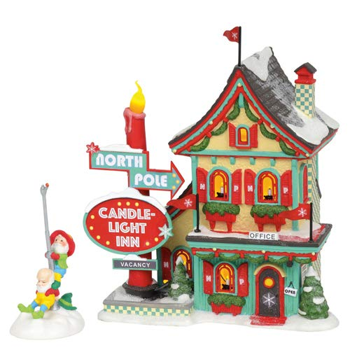 56 North Pole Village - Department 56 North Pole Village Series Welcoming Christmas Candle-Light Inn Lit Building and Accessory, 7.01