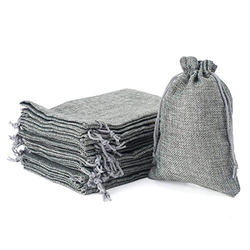 Wuligirl 30PCS Burlap Bags 4X6 Grey with Drawstring Cotton Jewelry Pouches Sacks Bag for Wedding Favors, Party, DIY Craft(Burlap Grey)