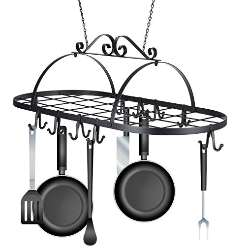 Meharbour Iron Oval Pot and Pan Rack for Ceiling with 10 Hooks, Ceiling Mounted Hanging Kitchen Storage Utility Cookware Holder Rack for Home, Restaurant, Utensils, Household (US STOCK)