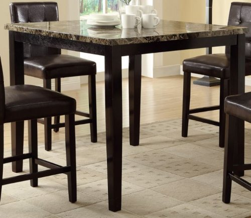 Poundex Counter Height Table With Faux Marble Top