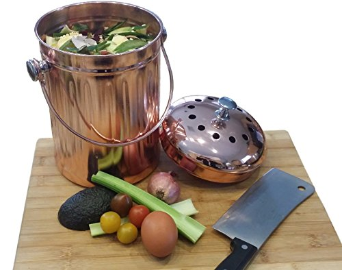 Compost Pail Bin Bucket for Indoor Kitchen Countertop - Copper Coated Stainless Steel 1 Gallon - BONUS Includes 2 Sets of Dual Charcoal Filters