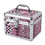 HST Small Cosmetic Box Lipstick Case with Inner Mirror Make Up Organiser Vanity Case Nail Polish Jewelry Storage Box, Pink Leopard