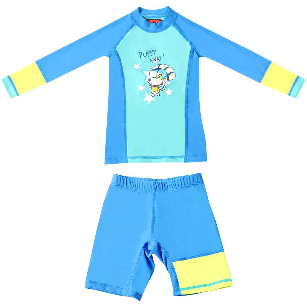 Bambini Rashguard Manica Lunga Muta Protezione Solare UV 50 Bambino Piccolo Body Spiaggia Ragazzi Ragazze Due Pezzi Muta da Sub Costume da Bagno