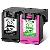 QINK 2PK Remanufactured For HP 302XL 302 for HP DeskJet 1110 1115 2130 2132 3630 3632 3633 3635 OfficeJet 3830 3831 3832 4651 4652 4654 Envy 4520 4521 4522 4526 4527 4528 (1BK+1C)