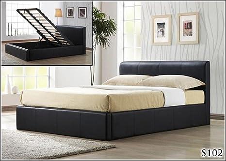 5 FT cuero otomana de almacenamiento Lift Up Kingsize Bed marco y sueño dormir colchón ortopédico Ortho -: Amazon.es: Hogar