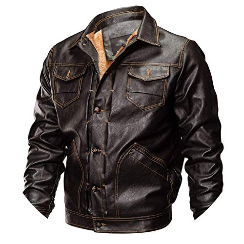 (Winter PU Leather Jacket Men Army Jacket Warm Military Pilot Coat Thick Wool Liner Motorcycle Jacket,Medium,Brown)