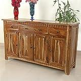 Aishni Home Furnishings SH165 Sahara 4 Door & 3 Drawer Buffet, 63'' x 18'' x 38''
