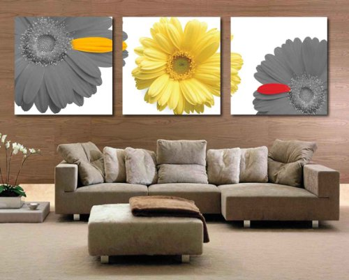 Spirit Up Art HD Giclee Art Print on Canvas Yellow&Grey Chrysanthemum set of 3 Modern Home Wall Painting Decor Art Each 50*50cm #06-JD-74 (Yellow And Grey Wall Decor)