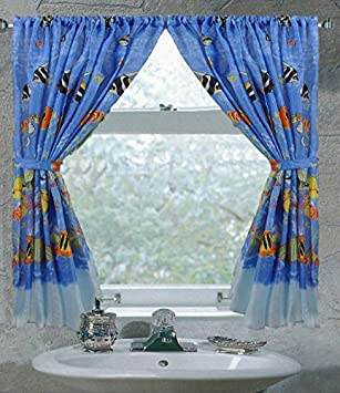 Tropical Fish Bathroom Window Curtain