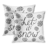 zebra snow brush - Emvency Black Let It Snow Hand Brush Lettering Vintage Merry Christmas and New Year Calligraphic Throw Pillow Covers Cover Set of 2 16x16 Inch Two Side Pillowcase Cases Case