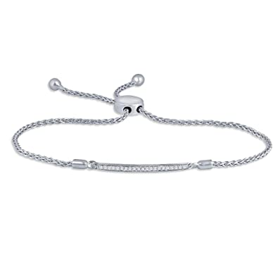 fc716b29cb5 Image Unavailable. Image not available for. Color: 1/10ct Round White Diamond  Sterling Silver Accent Love Bar Strand Adjustable Bolo Bracelet