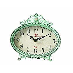 Creative Co-op DA0797 Green Antiqued Pewter Mantel Clock
