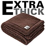 Allisandro Fluffy Thick Lightweight Dog Blanket - [Upgrade Version Double Thickness] - Premium Durable Kitten Soft Fleece Pet Throw for Puppy Dog/Cat, Deep Coffee 47x31