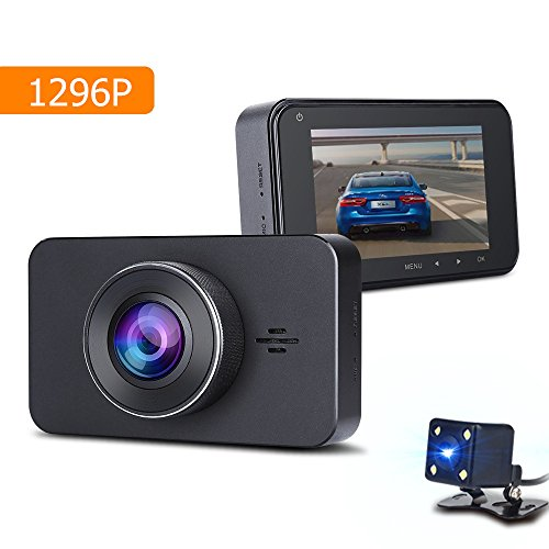 1296P Dual Dash Cam with Starlight Night Vision Drive Recorder, Full HD Car DVR Camera Dashboard Front and Rear View with G-Sensor, WDR, Night Vision,Loop Recording