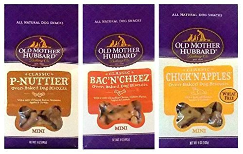 Old Mother Hubbard All Natural Oven-Baked Mini Dog Biscuits 3 Flavor Variety Bundle: (1) Old Mother Hubbard Classic Bac'N'Cheez, (1) Old Mother Hubbard Classic P-Nuttier, and (1) Old Mother Hubbard Classic Chick'N'Apples, 5 Oz. Ea. (3 Bags Total)