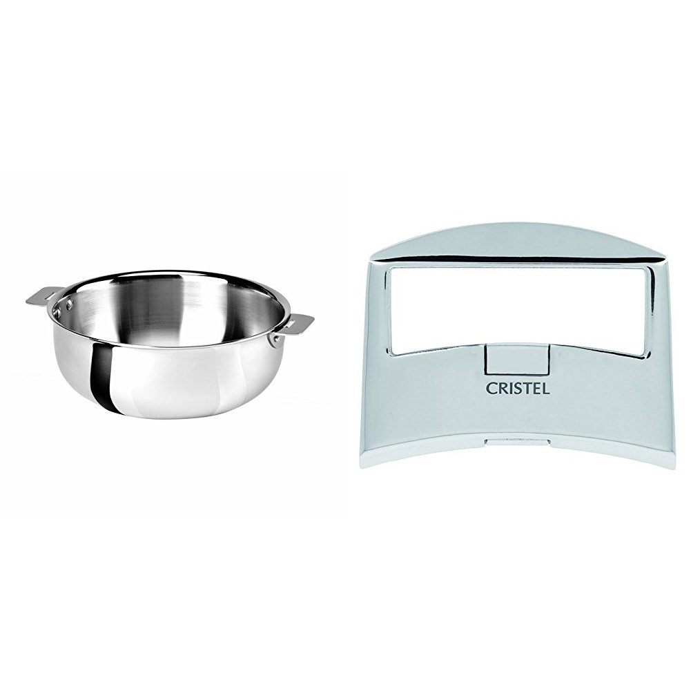 Cristel SR22QMP Saucier, Silver, 3 quart with Cristel Casteline Plcx Side Handle, Silver