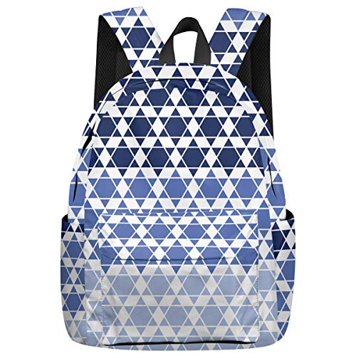 Students School Backpack, Durable Polyester Rucksack Daypack for Kids/Children/Teens Travel Camping, Hexagon Pattern 16'' x 12'' x 7''