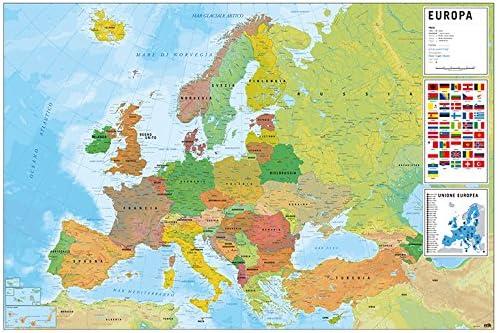 Grupo Erik Editores Poster Mapa Europa Italia Fisico Politico (Editado en Italiano): Amazon.es: Oficina y papelería