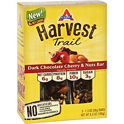 Atkins Harvest Trail Bar - Dark Chocolate Cherry and Nuts - 1.3 oz - 5 Count