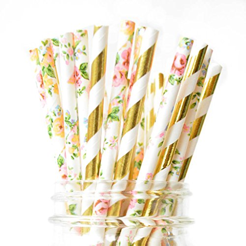 Twigs & Twirls Paper Straws Floral and Gold Paper Straws 50 Pack, Floral Party Supplies Decorations for Baby Shower, Birthday Straws, Floral Bridal Shower Decor (Floral Metallic Gold)