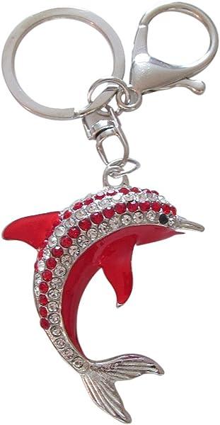 Llavero con forma de delfín, con cristales de estrás ...