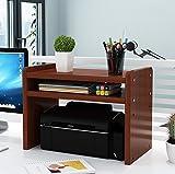 Nipole Adjustable Desktop Bookshelf, Natural Wood Desktop Storage Organizer Wood Literature Organizer Office printer display stand