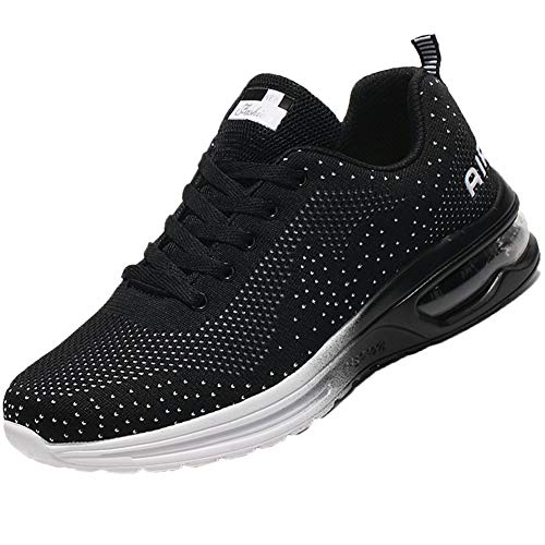 QTMS Womens Lightweight Athletic Running Shoes Breathable Sport Air Fitness Outdoor Gym Jogging Men Sneakers 626-Black&White-42(9.5)